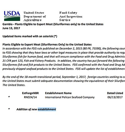 USDA authorisation for Gambian meat exports