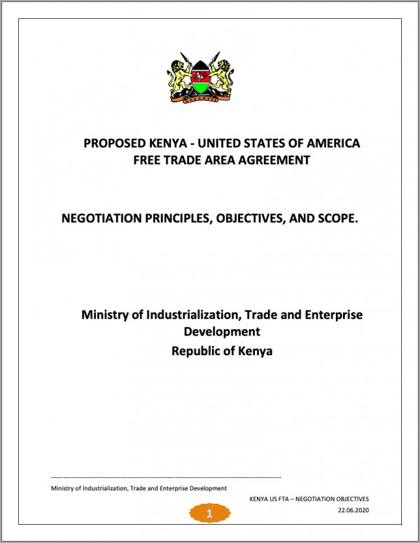Kenya's Kenya-US FTA negotiating principles - June 2020