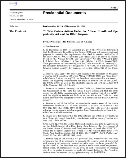 Proclamation reinstating AGOA preferences to Congo DRC