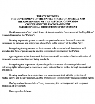 Rwanda - United States Bilateral Investment Treaty (BIT)