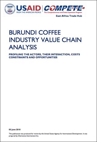 Burundi coffee supply value chain analysis (USAID / COMPETE 2010)