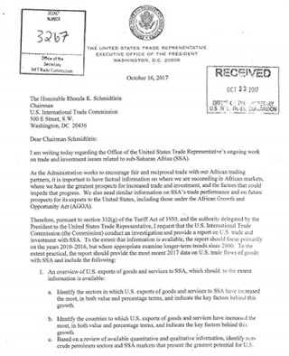 USTR request letter  - Investigation into US-SSA trade