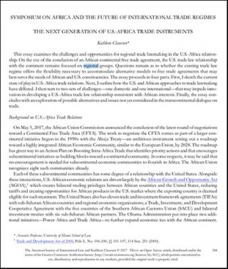 The next generation of US-AFRICA trade instruments