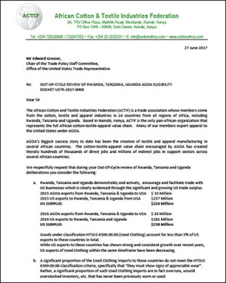 Submission from the African Cotton and Textile Industries Federation (ACTIF)