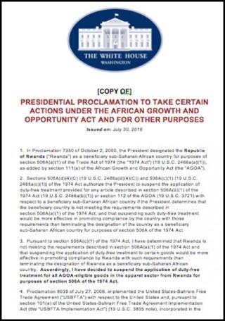 Presidential Proclamation regarding Rwanda's AGOA eligibility