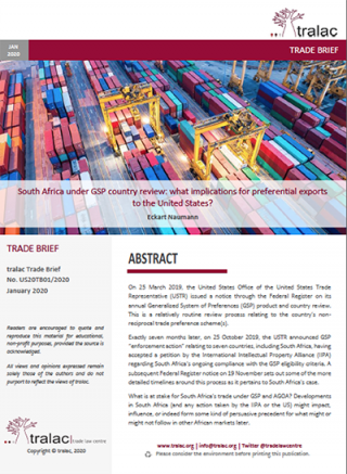 South Africa under GSP country review: what implications for preferential exports to the United States?