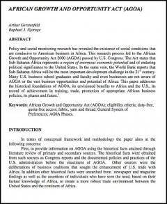 AGOA - An overview 2003