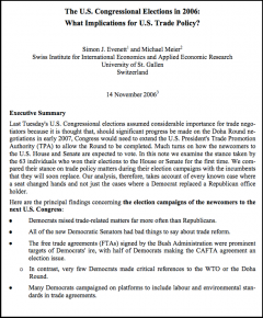 The US Congressional Elections in 2006: What Implicatiuns for US Trade Policy?