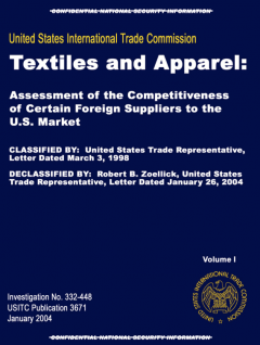 Textiles and Apparel: Assessment of the competitiveness of certain foreign suppliers to the US (2004)
