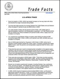 AGOA Trade Facts - April 2006