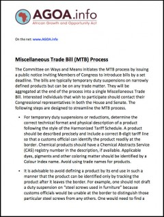 Guide to the US Miscellaneous Trade Bill process
