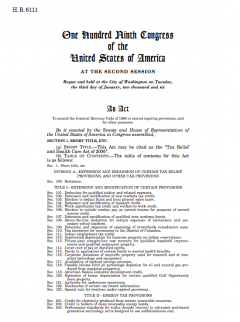 Bill H.R. 6111 (109th Congress): Tax Relief and Health Care Act of 2006 (contains AGOA IV legislation)