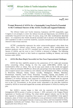 ACTIF white paper on the renewal of AGOA in the post-2015 period