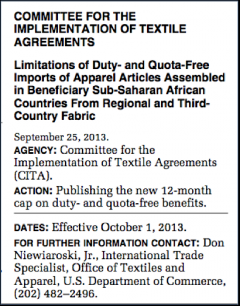 Apparel quota determination under AGOA for 2013-2014