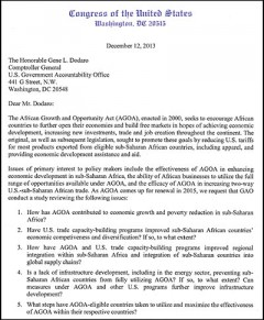 Letter from House Committee on Foreign Affairs - regarding investigation into effectiveness of AGOA