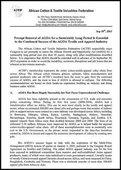 ACTIF - AGOA 2014 submission document