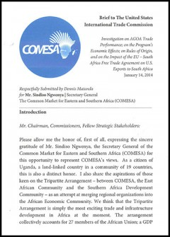 COMESA - AGOA 2014 hearings - testimony