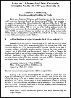 Africa Coalition for Trade - AGOA 2014 hearings - testimony