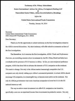 Witney Schneidman - AGOA 2014 hearings - testimony