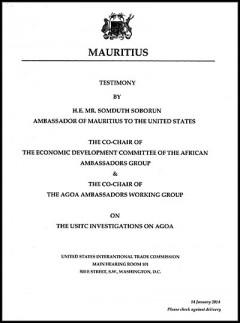 Mauritius Ambassador Soborun - AGOA 2014 hearings - testimony