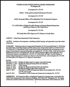* AGOA 2014 hearings - OFFICIAL NOTICE