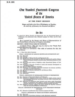 H.R.1295 - Trade Preferences Extension Act of 2015 (AGOA 2015-2025 renewal legislation - became Public Law 114-27)