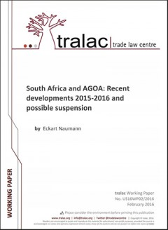 South Africa and AGOA: Recent developments 2015-2016 and possible suspension